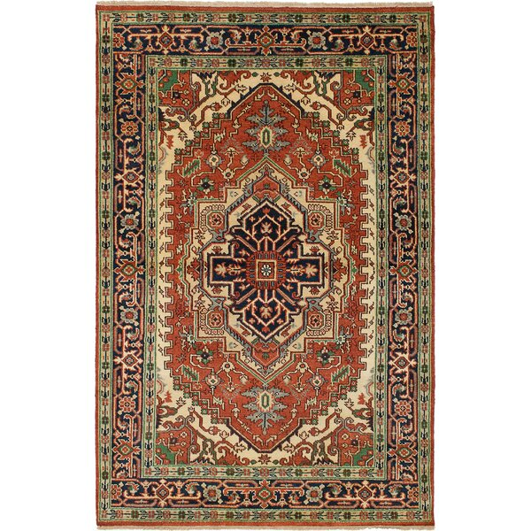 One-of-a-Kind Doerr Traditional Hand Knotted Rectangle 100% Wool Red Area Rug by Isabelline